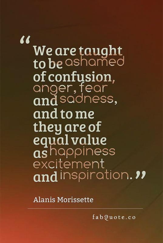 "Alanis Morissette ""Confusion, anger, fear and sadness"" 