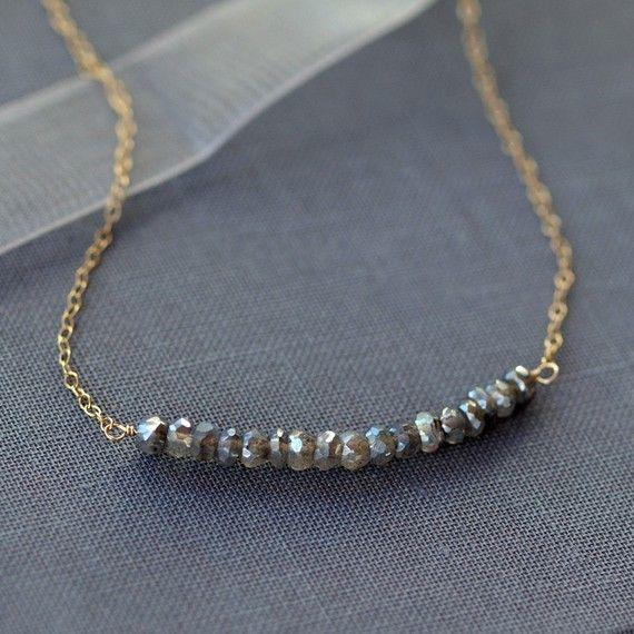 Cloud Burst Necklace Labradorite Gemstone Gold by ShopClementine, $39.00