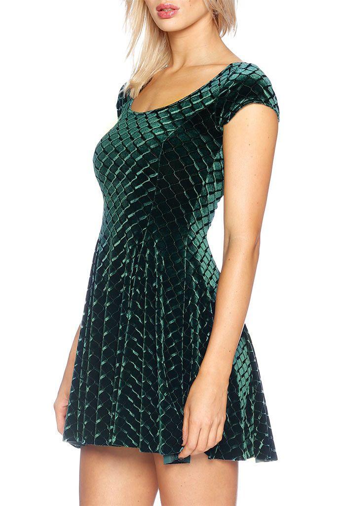 Embossed Velvet Reptilian Evil Cheerleader Dress - LIMITED