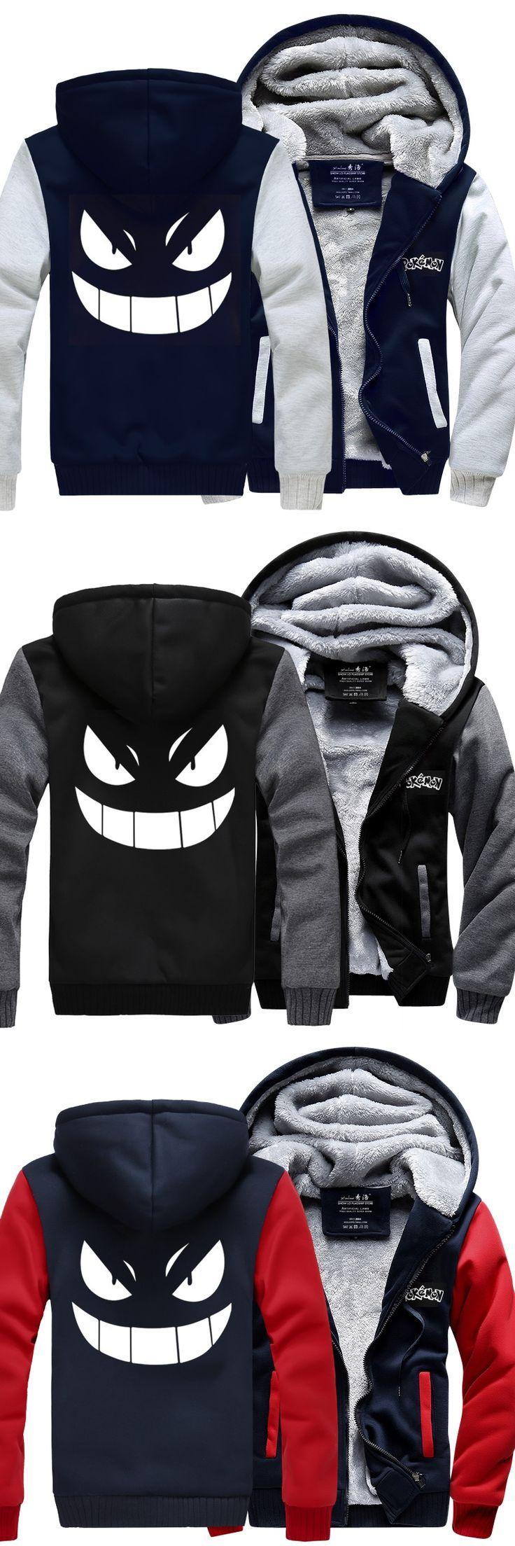 Pocket GO New Winter Jackets and Coats Pocket Monster hoodie Gengar Pokemon Hooded Thick Zipper Men cardigan Sweatshirts cosplay