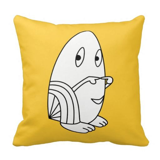 Egg-shaped kawaii / cute cartoon character ornamental/decorative throw pillows. Customize/personalize by adding your own text, change the background color and/or scale/position the design to your liking. (Note: The design is both in front and in back; if you don't like it on the back, you can remove it)
