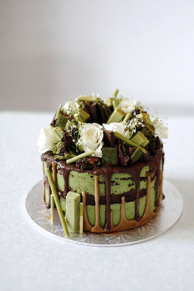 The Spatula and The Pen - Chocolate mud cake with matcha mousse, upside down speculoos drip and chocolate ganache, with matcha.