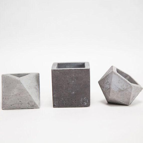 Mini Concrete Geometric dark vessel set Cube Octahedron Icosahedron