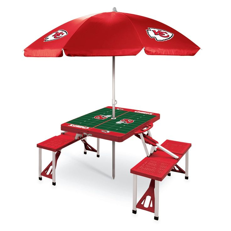 NFL Red Kansas City Chiefs Picnic Table is a compact fold-out table with bench seats for 4 that you can take anywhere. Comes with umbrella and carrying case. Visit SportsFansPlus.com for Details.