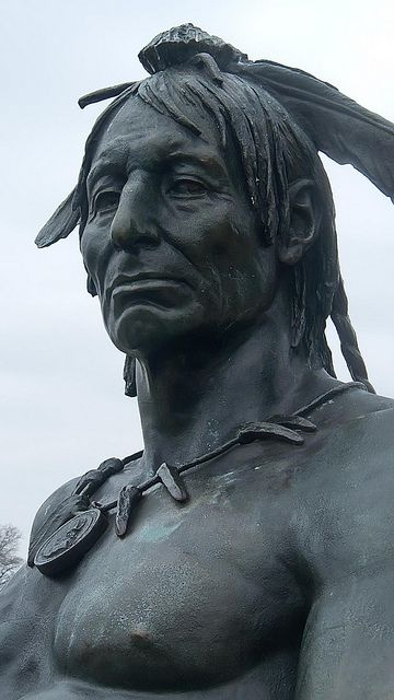 Bronze of a Native American Warrior by Rudolf Siemering 1897 CE in Eakins Oval overlooks visitors to the Philadelphia Museum of Art by mharrsch, via Flickr