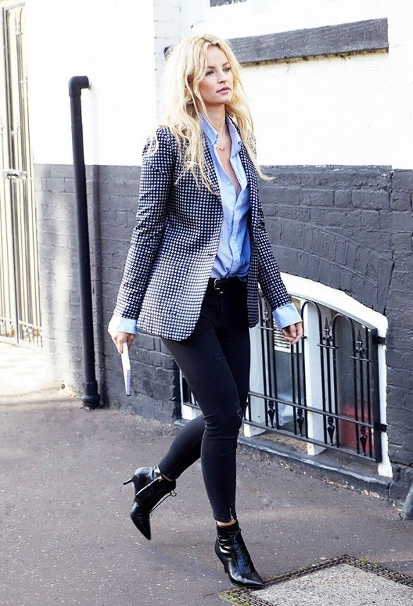 How to wear a printed blazer: pair with low-key pieces like black ankle boots and a blue button-up