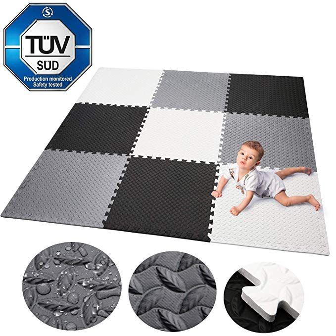 Spielmatte 52-TLG Puzzle Puzzlematte Spielteppich Kinderteppich Schutzmatte Kinderspielteppich Schaumstoffmatte Unterlegmatte Boden Schutz SK-33 Mono