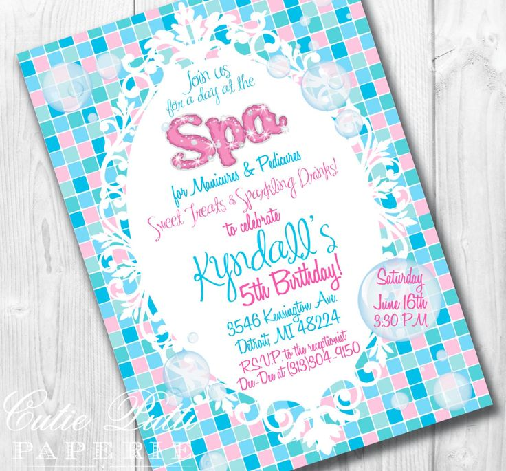 17 Best images about Spa Party – Spa Party Invitation Ideas