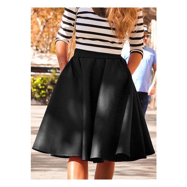 SheIn(sheinside) Black High Waist Flare Skirt ($19) ❤ liked on Polyvore featuring skirts, high-waisted flared skirts, flared skirts, high-waisted skirts, high waisted short skirts and high waisted flare skirt