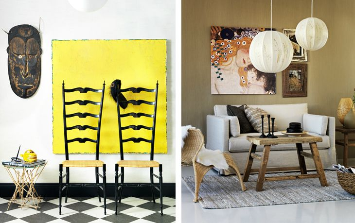 That boldly painted canvas is a great way to frame out a piece of furniture and make the wall decor feel more alive.