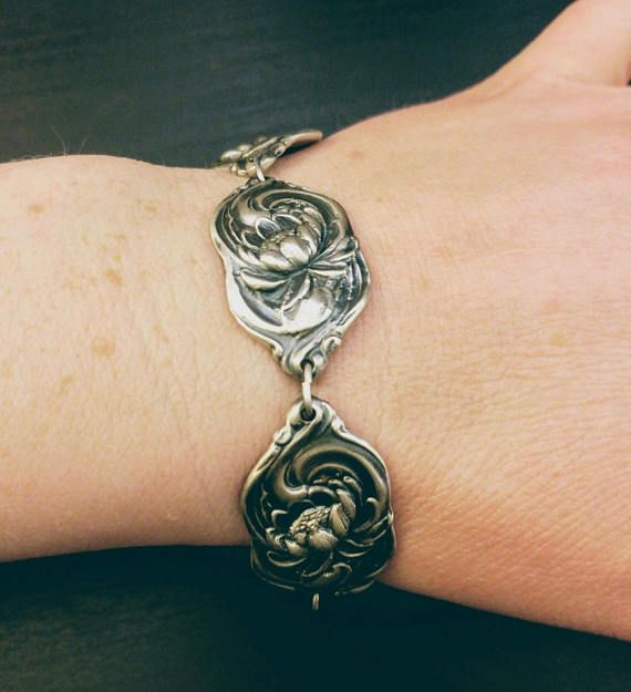 Lotus Bracelet Sterling Silver Spoon Size 7 5