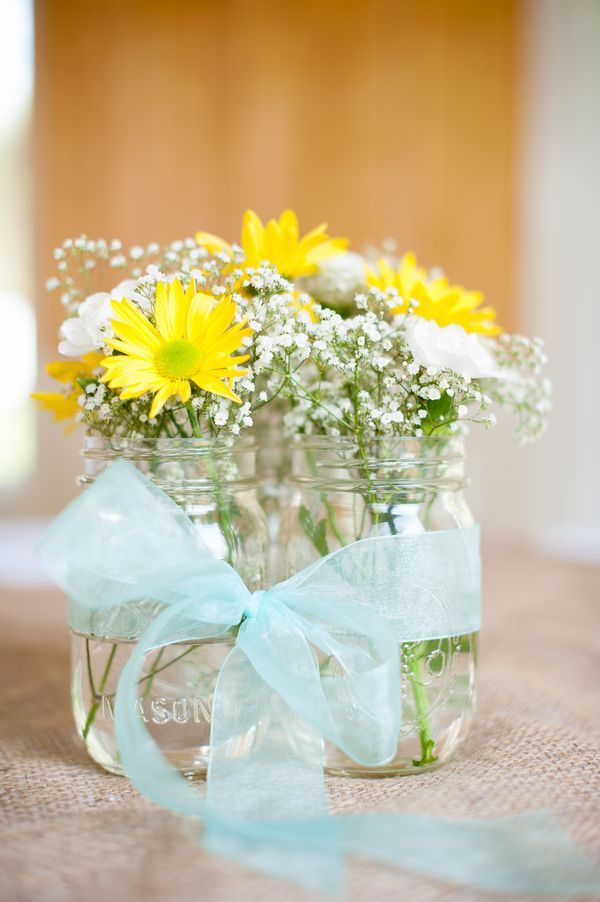 Yellow & Tiffany Blue Southern Chic #Wedding #Centerpiece  Photo by:  amandajaynephoto.com