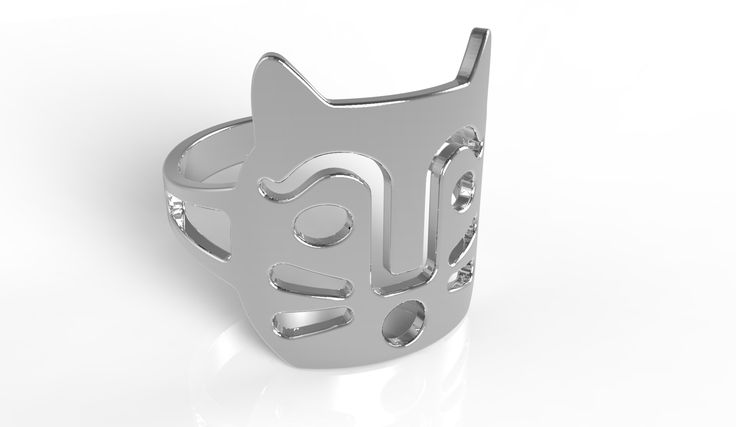 Ring dedicated to Felix the cat designed by Anna Gili. The ring is costumizable in different materials and colours. Technology: 3D Print Material: colored polym