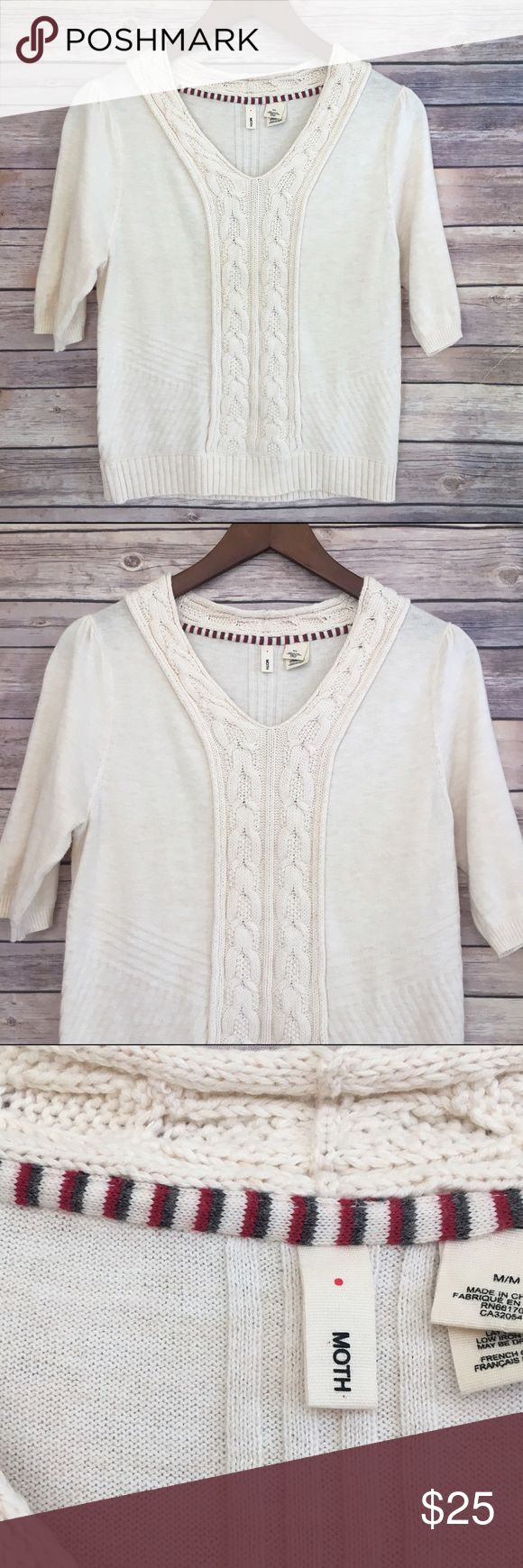 Ideal Moth by Anthropologie Short Sleeve Cream Sweater