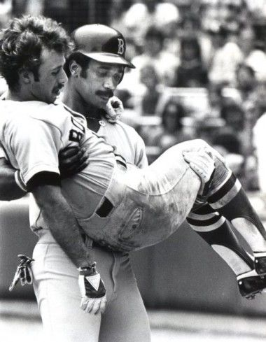 Jim Rice carries an injured Remy following the '78 season during which they were both All-Stars and Rice was MVP