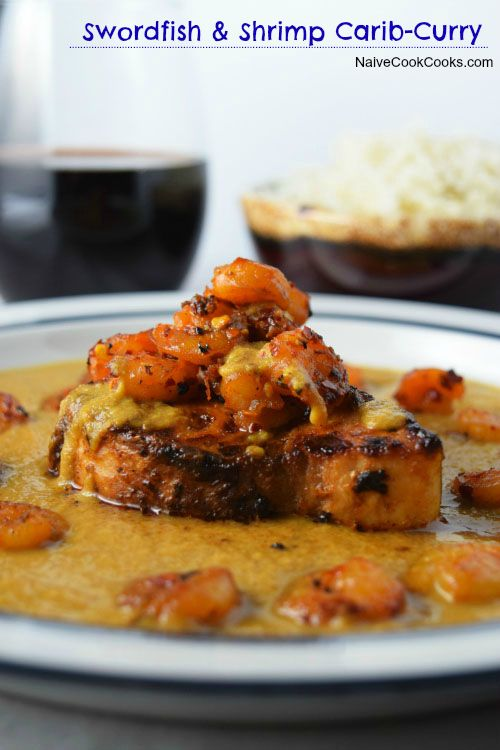 Learn how to make a delicious & healthy (no cream used!) caribbean flavored swordfish & shrimp in Indian style gravy! Fusion at its best!! NaiveCookCooks.com
