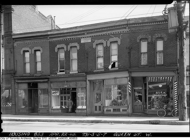 The view of 791 to 797 Queen St. West, Toronto, April 22, 1943.