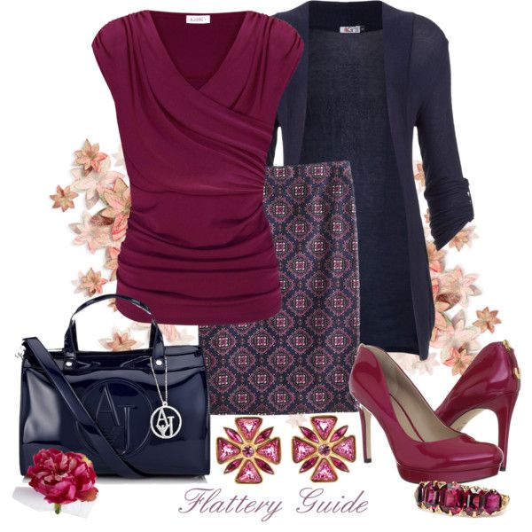 Top: Kaliko Ruched Crossover, Stud Cross Cardi by Wal G, J Crew Petite No. 2 Pencil Medallion Paisley Skirt, Joan & David Wilma Pumps, Armani Jeans Bowling Bag, YSL 1980's VINTAGE earrings, Pier One Purple Peony Almandine Garnet Diamond Ring ~ Via Classy Outfits | Shelly | Fashionista Trends