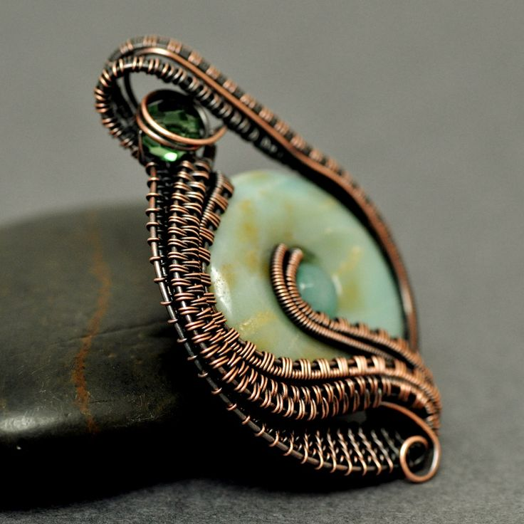 Nicole Hanna Jewelry | Wire Wrapped Amazonite Copper Egg Pendant | Online Store Powered by Storenvy