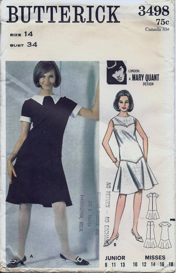 Mary Quant Design Dress Pattern Butterick 3498 Size 14