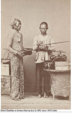 Chinese and Javanese men trading. 1870.