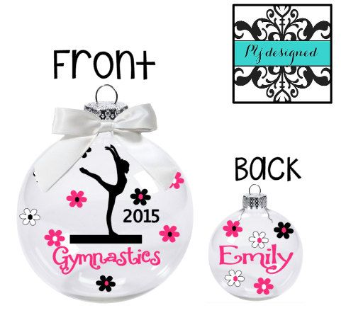 Gymnastics Ornament/ Personalized Christmas by HelloHippoDesigns