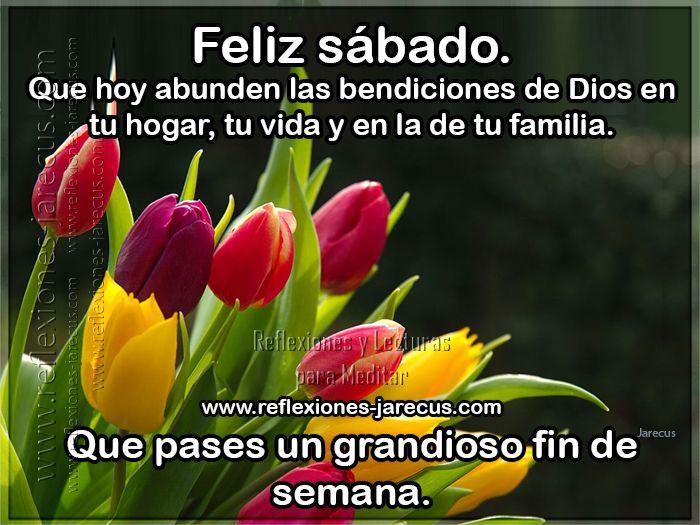 Feliz sábado ✅que hoy abunden las bendiciones de Dios en tu hogar, tu vida y en la de tu familia. Que pases un grandioso fin de semana