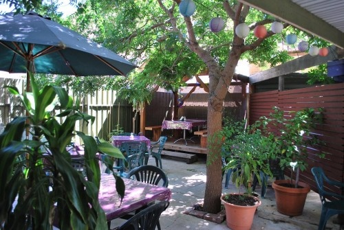 Bliss Organic Garden Cafe. awesome vegan cafe, with a gorgeous little courtyard equipped with paper lanterns and candles for a beautiful atmosphere at night or lovely and leafy during the day. you wouldn't know you're in gouger st