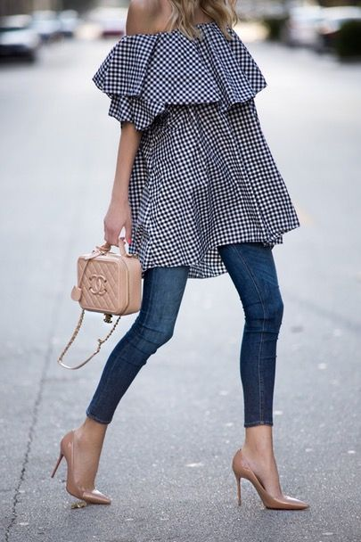 Loving these nude heels and the off-the-shoulder top | littleblondebook | LIKEtoKNOW.it