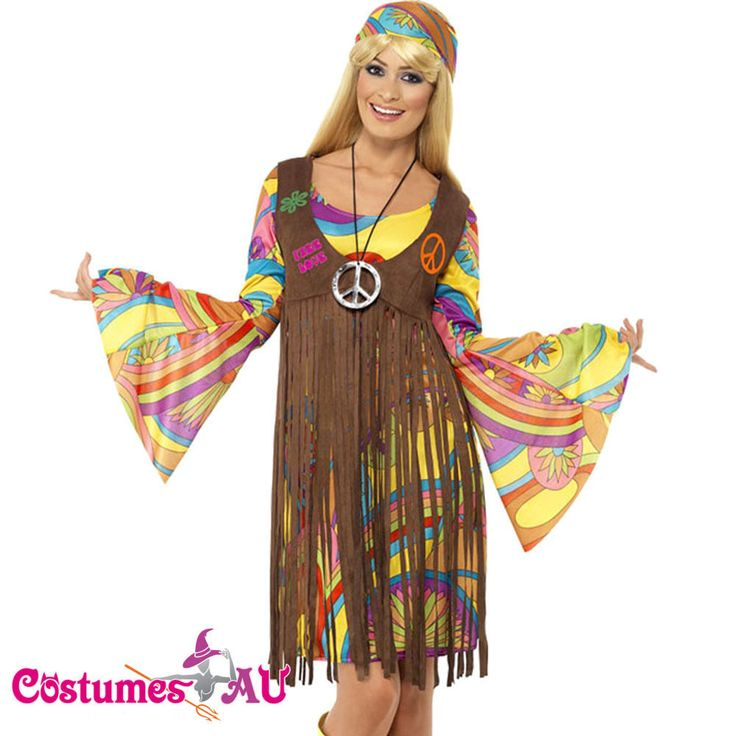 Grab A Groovy Lady Costume Complete With Multi Coloured Dress Brown Suede Look Waistcoat And Free Love On The Back