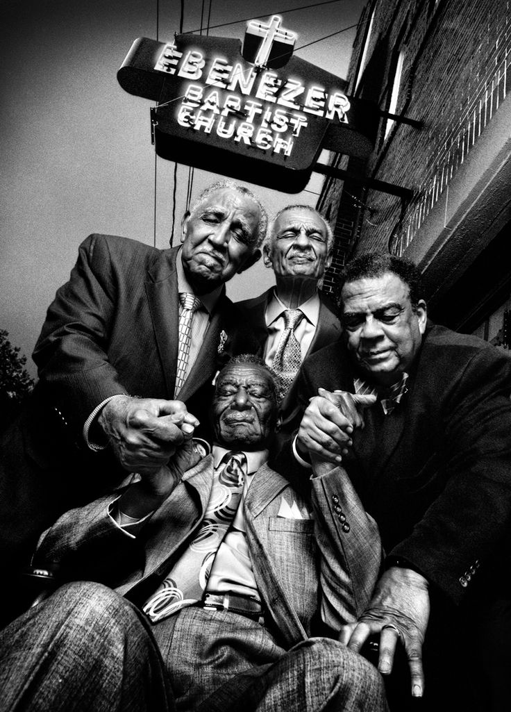 Members of the S.C.L.C (Southern Christian Leadership Conference), Ebenezer Baptist Church, Atlanta, GA, November 2009.   Clockwise from left: the Reverend Joseph Lowery, the Reverend C. T. Vivian, Andrew Young, and the Reverend Fred Shuttleworth, at Martin Luther King, Jr.'s church in Atlanta.