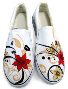 White Floral Canvas TPR Sole Womens Painted Shoes