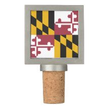 Patriotic Wine Stopper with Flag of Maryland