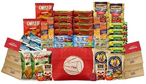 Healthy Snacks Gift Box College Dorm MilitaryBreakroom Bundle Gift 45 Count With 2 redbox DVD codes *** BEST VALUE BUY on Amazon