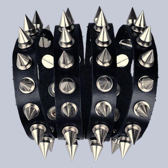 Metal Alloy Spiked Bracelet With Leather Wrist Strap Punkrock Rock Clothes Punk Rocker