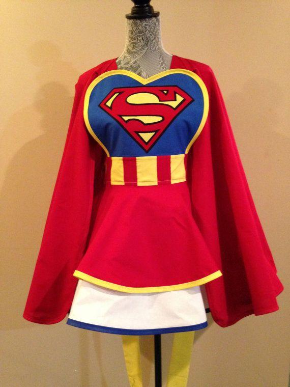 Supergirl apron - Super girl - Superman - Cosplay apron - Retro apron - Apron and Cape