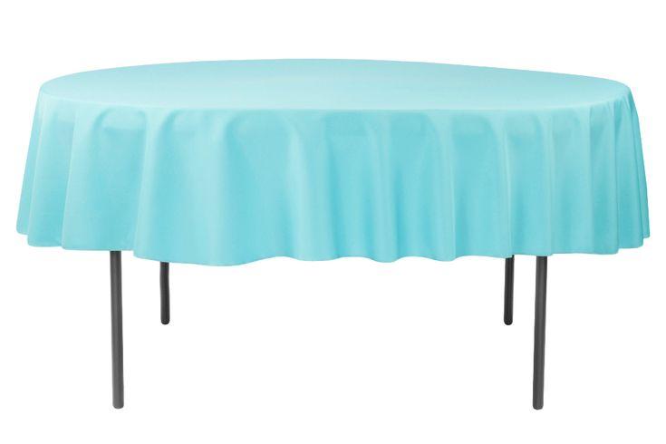 "Polyester 90"" Round Tablecloth - Aqua Blue"