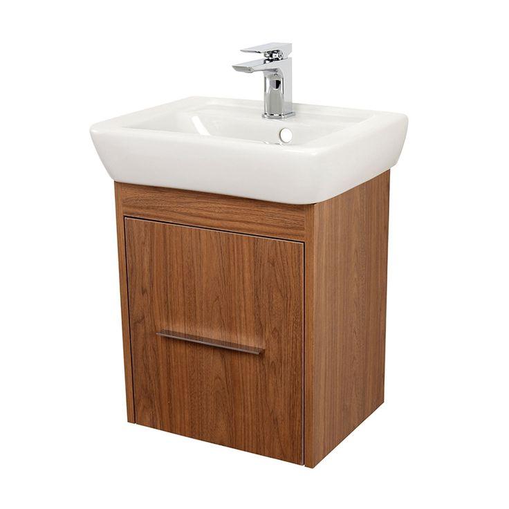 Signature Simple Cloakroom Vanity Unit with Basin 450mm - Walnut