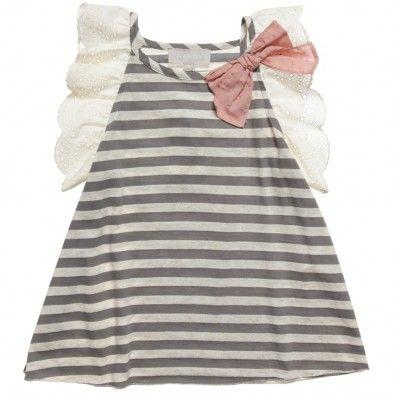 Nanos Girls Grey Striped Cotton Top at Childrensalon.com