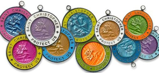 Surfing St. Christopher Medals-St. Christopher, saltwater style, surfer, surfing, jewelry, surfing jewelry, colorful, st. christopher medal