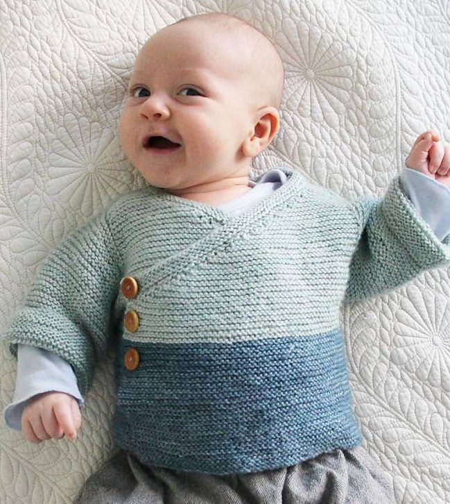 Free Knitting Pattern for Easy Baby Kimono - Easy garter stitch wrap cardigan in kimono style is sized for babies newborn, 1-3 months, 3-6 months. Most Ravelrers rated this easy or very easy. Designed by Joji Locatelli Pictured project by jleigh718
