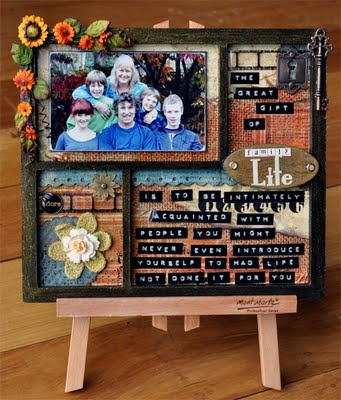 Peg Hewitt's fantastic altered wood frame- with Dymo tape journaling!!!