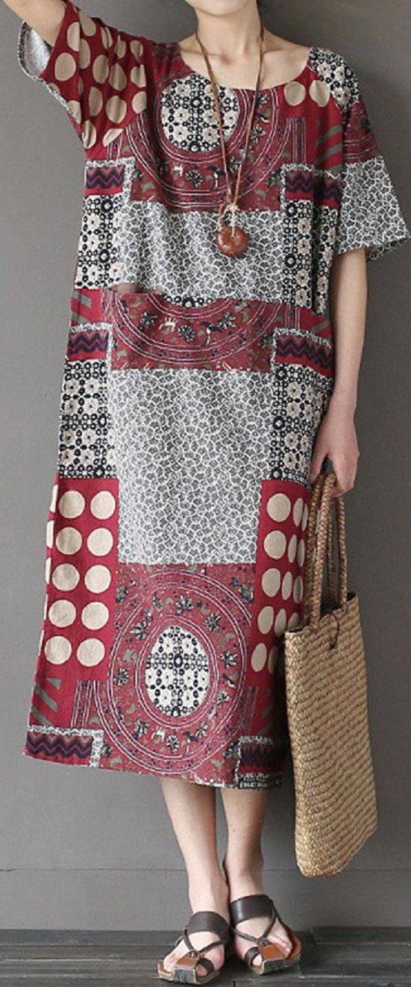 US$ 17.27 Ethnic Printed Short Sleeve O-Neck Pockets Midi Dress For Women