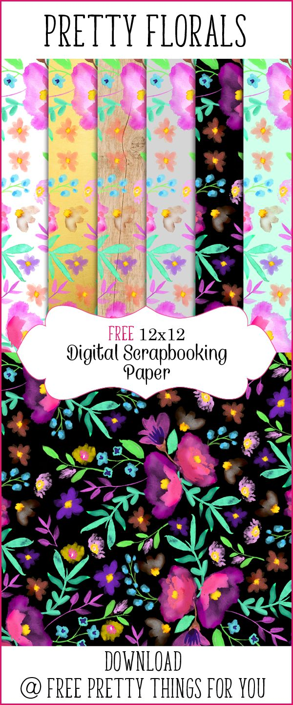 Scrapbook Paper - Pretty Florals 12x12-Multicolors - Free Pretty Things For You
