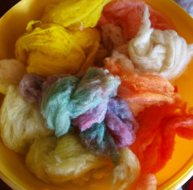 A bowl of Fresh food dye coloured wool