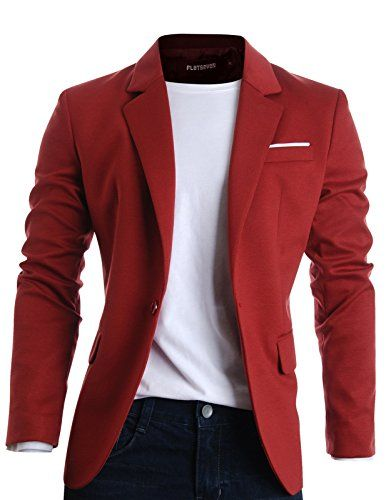 FLATSEVEN Mens Slim Fit Casual Premium Blazer Jacket Wine, L ...
