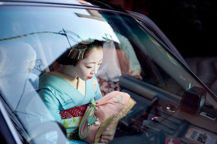 Geisha in a taxi, Gion-Kyoto Japan