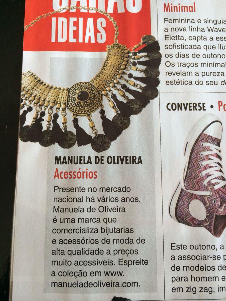 Revista Caras de 24 de setembro  Manuela de Oliveira- revenda de bijuteria