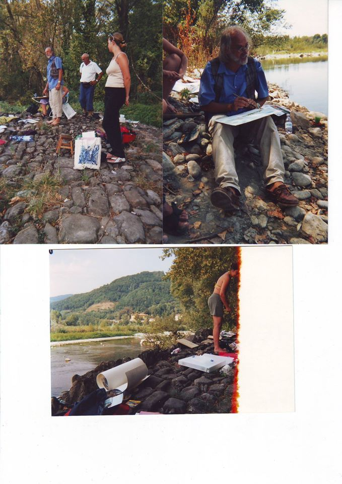 Watercolor stage on Magra river in 2003, with Claudio Jaccarino