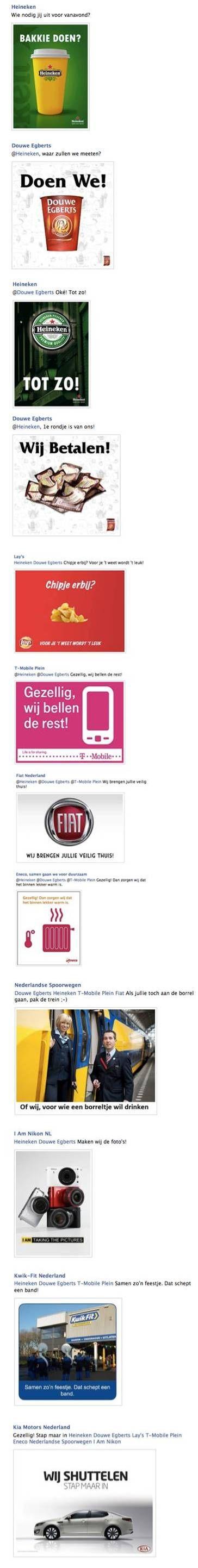 Bedrijven die op elkaars Facebook-advertentie inhaken. Dit is nou eens een gezellige manier van merkenreclame ;-). Wat zullen die marketeers achter die merken een lol gehad hebben... het zijn soms net gewoon mensen ;-)